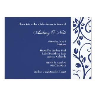 Königsblau-Blumenrebe-Babyparty-Einladung 12,7 X 17,8 Cm Einladungskarte