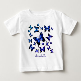 Königsblau-elegante wunderliche Schmetterlinge Baby T-shirt