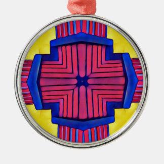 Königsblau-gelbes magentarotes modernes lineares rundes silberfarbenes ornament