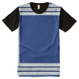 Königsblau mit silberner Weiß-und Marine-Ordnung T-Shirt Mit Komplett Bedruckbarer Vorderseite