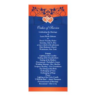 Königsblau, orange Blumen, Herzen, die Programm