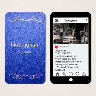 Königsblau scheinbare lederne Instagram Art Visitenkarte