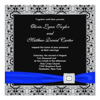 Königsblau-Schwarz-Silber-Spitze-Hochzeit Quadratische 13,3 Cm Einladungskarte