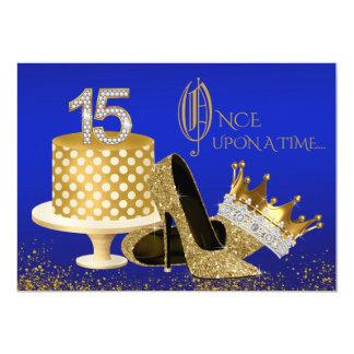 Königsblau und Gold Quinceanera 12,7 X 17,8 Cm Einladungskarte