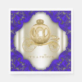 Königsblau-und Goldprinz Babyparty Serviette