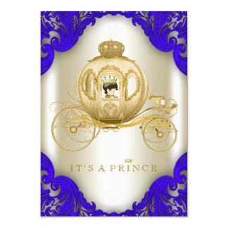 Königsblau-und Goldwagen-Prinz Babyparty 12,7 X 17,8 Cm Einladungskarte