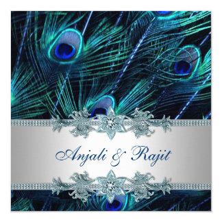 Königsblau-und Silber-Königsblau-Pfau-Hochzeit Quadratische 13,3 Cm Einladungskarte