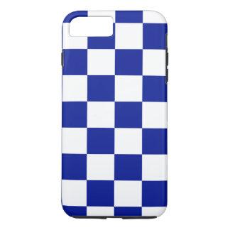 Königsblau-und weißeskariertes Muster iPhone 8 Plus/7 Plus Hülle