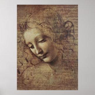 Kopf einer jungen Frau mit dem Tousled Haar oder,  Poster