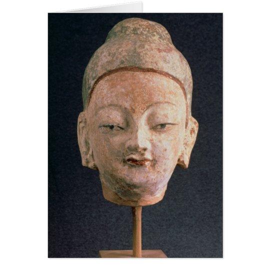 Kopf einer Statue von Buddha, von Bezeklik Grußkarte