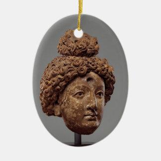Kopf von einem Buddha oder von Bodhisattva Ovales Keramik Ornament