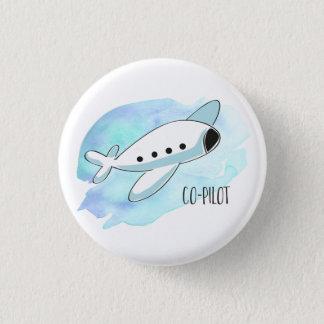 Kopilot mit Flugzeug Runder Button 3,2 Cm