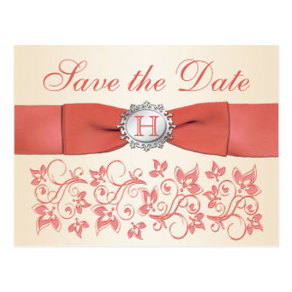 Koralle, ChampagneblumenSave the Date Postkarte