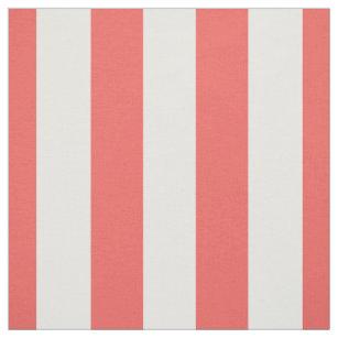 """Koralle und Weiß 1,5"""" Streifen-Muster Stoff"""