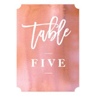 Koralle, wedding Tischnummer des rosa Watercolor Karte