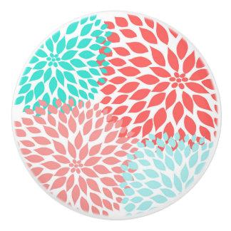 Korallenrote aquamarine Dahlie-Wohngestaltung, Keramikknauf