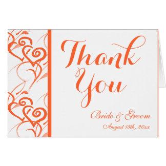 Korallenrote doppelte Herz-Strudel-Hochzeit danken Mitteilungskarte