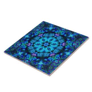 Korallenrote Fülle-Mandala-Fliese Große Quadratische Fliese