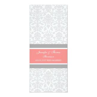 Korallenrote graue Damast-gerade verheiratete 10,2 X 23,5 Cm Einladungskarte