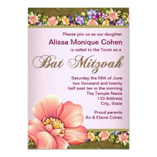 Korallenrote grüne Blumenschläger Mitzvah 12,7 X 17,8 Cm Einladungskarte