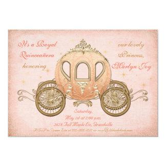 Korallenrote Märchen-Prinzessin Quinceanera 12,7 X 17,8 Cm Einladungskarte
