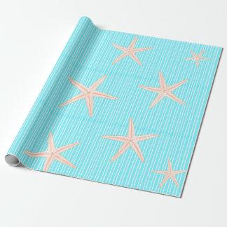 Korallenrote Starfish auf Aqua-Blau Geschenkpapier