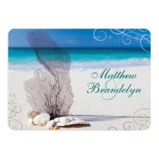 Korallenrote Strand-Hochzeit in 12,7 X 17,8 Cm Einladungskarte