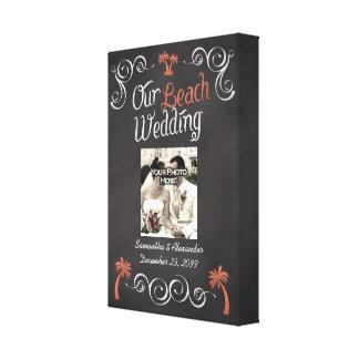 Korallenrote Tafel-Skript-Strand-Hochzeit Gespannter Galeriedruck