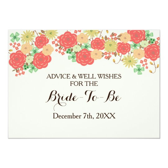 korallenroter Brautparty Rat und 12,7 X 17,8 Cm Einladungskarte