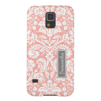 Korallenroter Damast-individueller Name Samsung Samsung S5 Cover