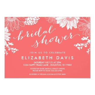 Korallenrotes modernes BlumenBrautparty 12,7 X 17,8 Cm Einladungskarte