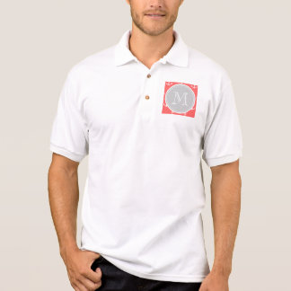 Korallenrotes weißes Anker-Muster, Gary-Monogramm Polo Shirt