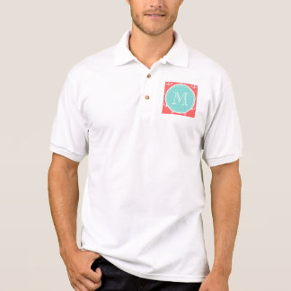 Korallenrotes weißes Anker-Muster, tadelloses Poloshirt