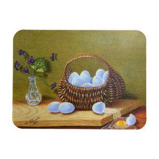 Korb der Eier mit Veilchen Magnet