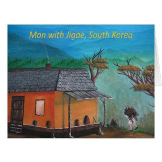 Koreanischer Mann-tragendes Holz (Jigae) Karte