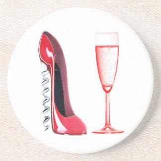 Korkenzieher-Stilett-Schuh und Champagne-Glas Sandstein Untersetzer