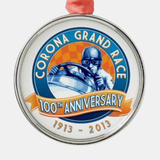 Korona-Straßenrennen-100. Jahrestag Rundes Silberfarbenes Ornament