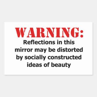 Körper-Positive Spiegel-Warnung Rechteckiger Aufkleber