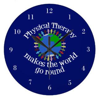 Körperliche Therapie lässt die Welt sich drehen Große Wanduhr