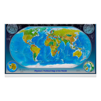 Körperliche und politische Weltkarte Plakatdruck