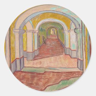 Korridor in St- Paulkrankenhaus Vincent van Gogh Runder Aufkleber