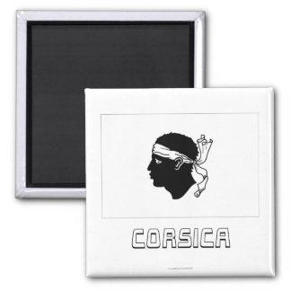 Korsika-Flagge mit Namen Quadratischer Magnet
