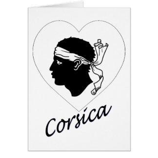 Korsika-Flaggen-Herz Karte