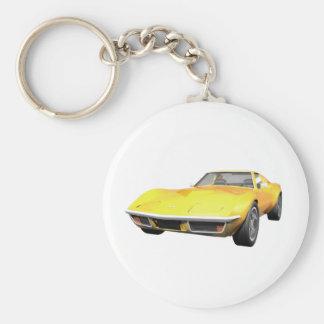 Korvette-Sport-Auto 1970: Gelbes Ende Standard Runder Schlüsselanhänger