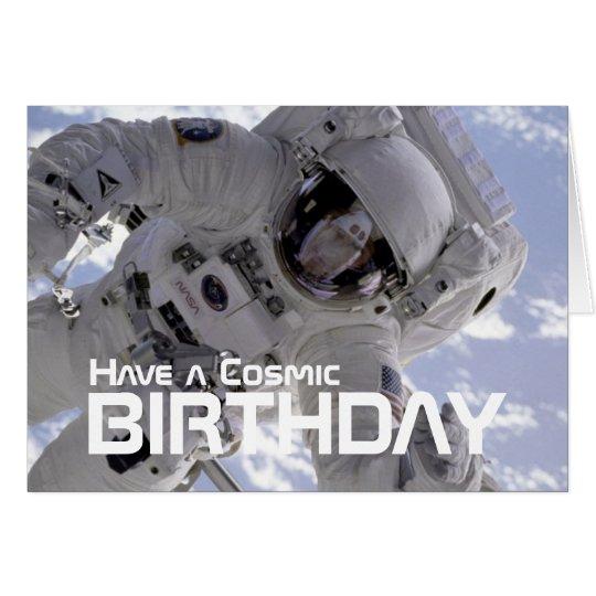 Kosmische Astronauten-Geburtstagskarte Karte