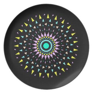 Kosmische geometrische Trümmer-Entwurfs-Neonplatte Melaminteller