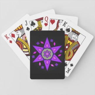 Kosmische rosa lila schwarze geometrische spielkarten
