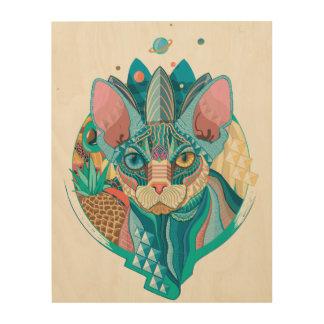 Kosmische Sphynx Katze Holzleinwand