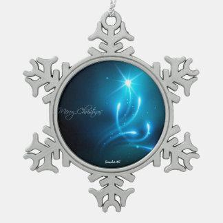 Kosmischer blauer funkelnd Baum der frohen Schneeflocken Zinn-Ornament