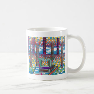 Kosmischer Computer-Technologie-Kopf durch Kaffeetasse